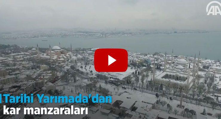 Tarihi Yarımada'daki Sultanahmet Camisi'nin karlı manzarası