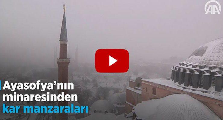 Ayasofya Cami ve Tarihi Yarımada'dan kar manzarası