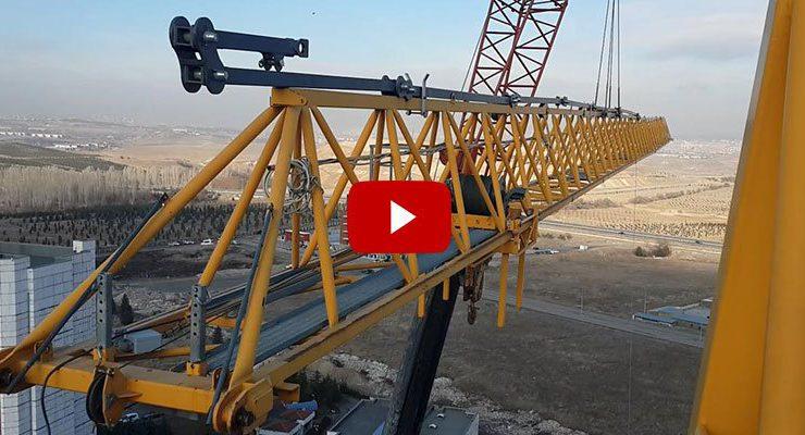 Potain inşaat vinci kurulumunu videoda dakika dakika anlattı