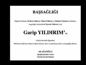 Ali Ağaoğlu Garip Yıldırım'ın vefatı için taziye ilanı yayınladı