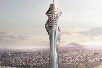 Dev kulenin 1300 tonluk anteni kule içinde monte ediliyor