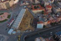 Taksim Cami inşaatındaki son durum havadan görüntülendi