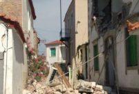 Ege depremi nedeniyle Midilli'de binalar yıkıldı