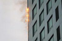 Maslak'ta 32 katlı binanın dış cephesinde yangın