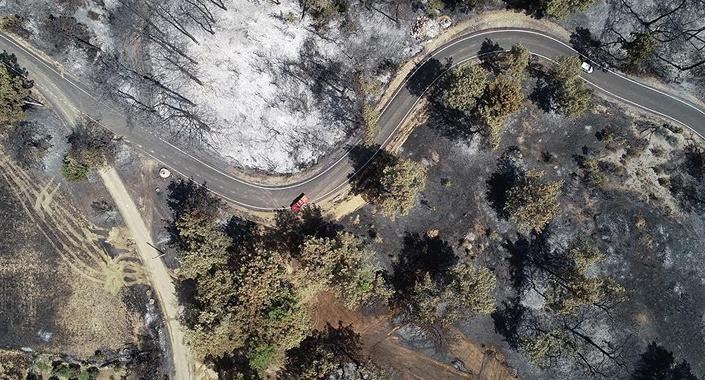 Antalya'da yanan 60 hektarlık alan havadan görüntülendi