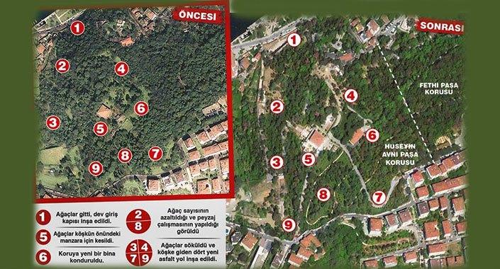 Hüseyin Avni Paşa Korusu'nda ağaçlar kesiliyor