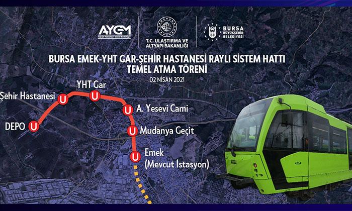 Bursa Şehir Hastanesi Metro Hattı'nda çalışma başlıyor